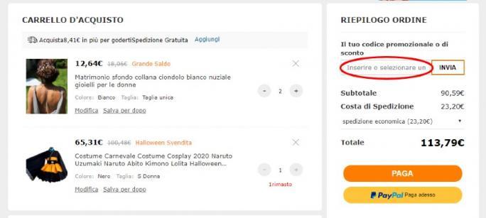 Come riscuotere un codice sconto Milanoo