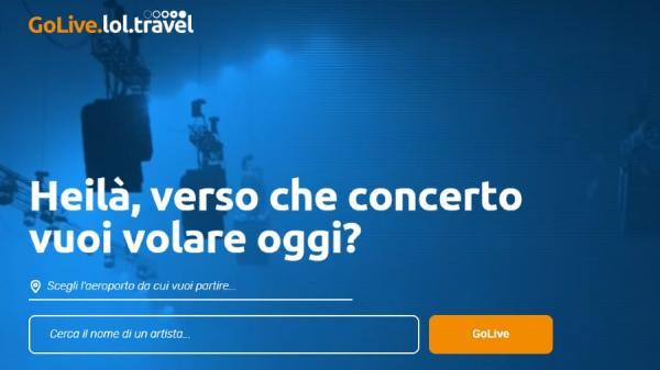 GoLive primo motore di ricerca viaggi by lol.travel per raggiungere i concerti degli artisti preferiti