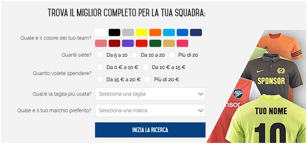 CalcioShop.it personalizzazione dei completi da calcio