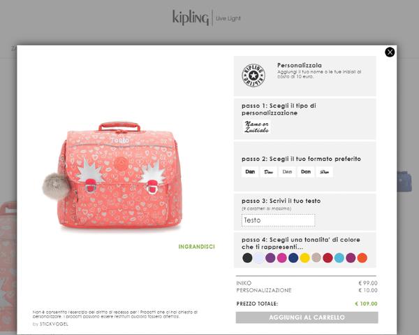 idea di personalizzazione di un prodotto Kipling