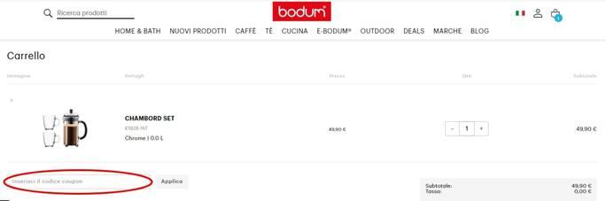 Come riscuotere un codice sconto Bodum