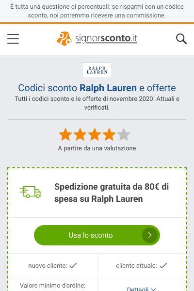 Codici sconto Ralph Lauren