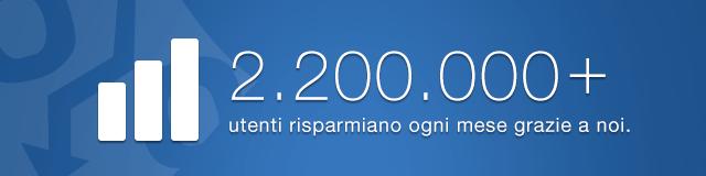 2.200.000+ utenti risparmiano ogni mese grazie a noi.
